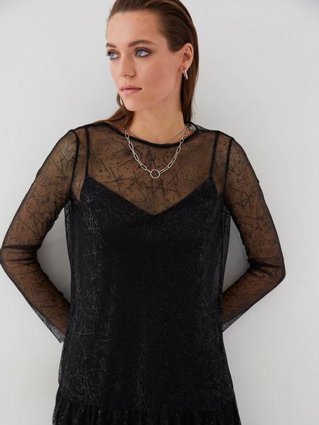 Сетчатое платье с воланом - фото 3