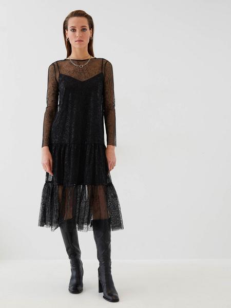 Сетчатое платье с воланом - фото 5