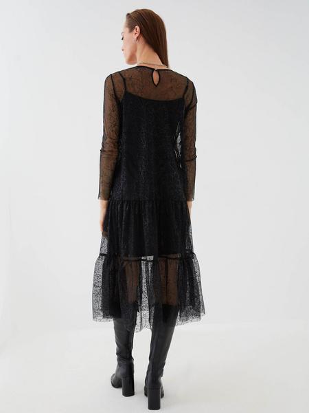 Сетчатое платье с воланом - фото 6