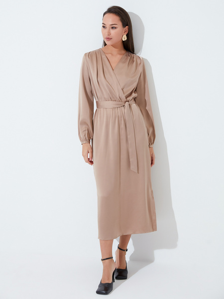 Атласное платье с поясом - фото 2