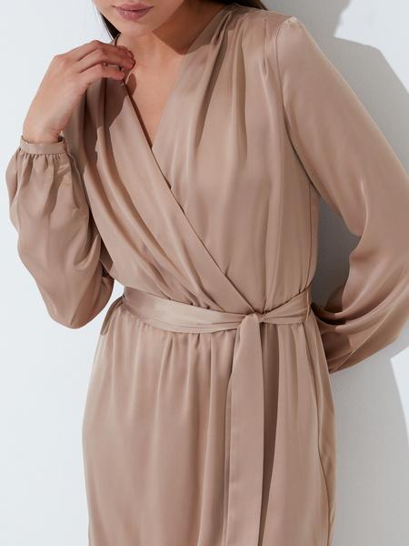 Атласное платье с поясом - фото 3