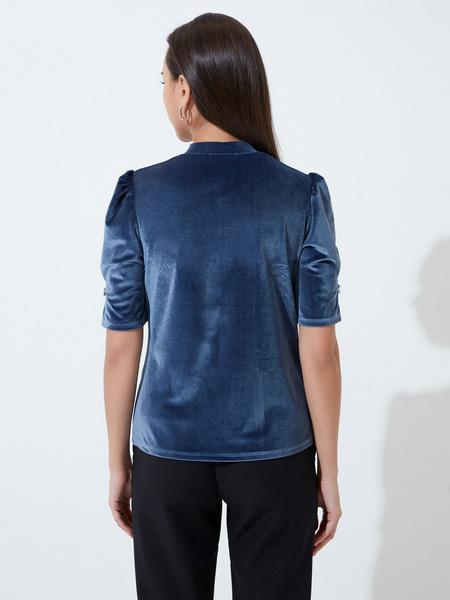 Бархатная блузка с закрытым горлом - фото 4