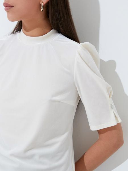 Бархатная блузка с закрытым горлом - фото 3
