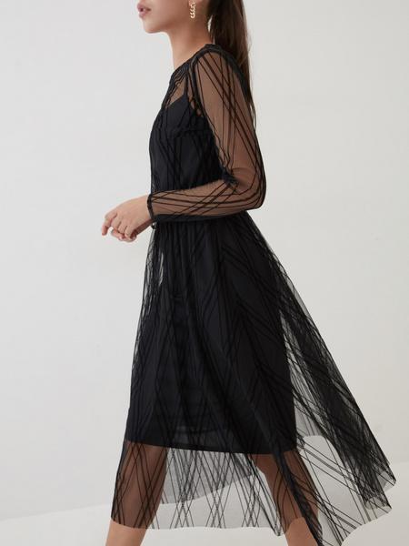 Сетчатое платье-миди - фото 4