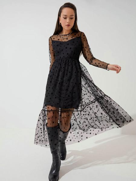 Шифоновое платье с воланом - фото 1