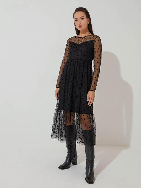 Шифоновое платье с воланом - фото 5