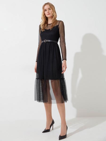 Шифоновое платье с воланом - фото 2