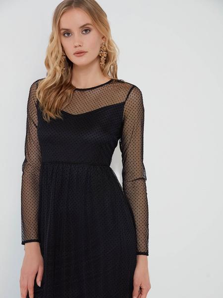 Шифоновое платье с воланом - фото 3