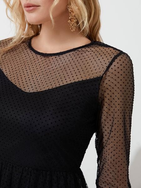 Шифоновое платье с воланом - фото 4