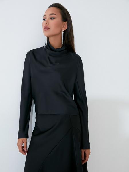 Атласная блузка с закрытым горлом - фото 3