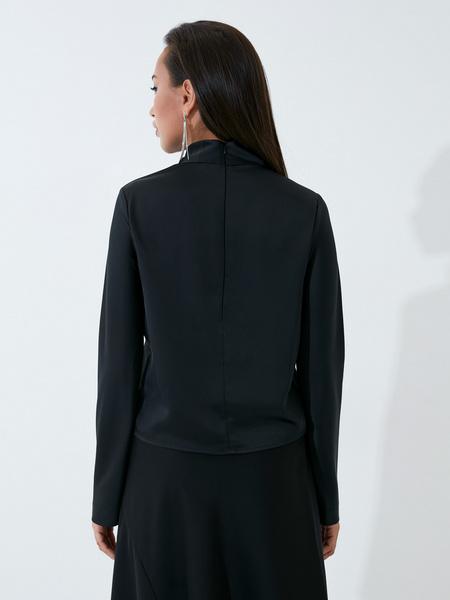 Атласная блузка с закрытым горлом - фото 6