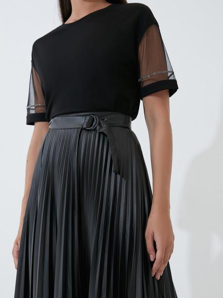 Плиссированная юбка из экокожи - фото 3