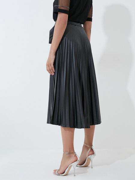Плиссированная юбка из экокожи - фото 4