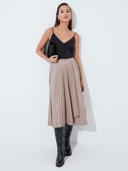 Плиссированная юбка из экокожи - фото 1