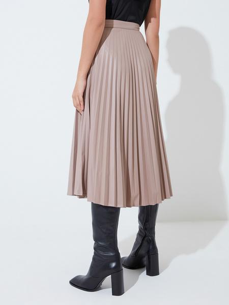 Плиссированная юбка из экокожи - фото 5