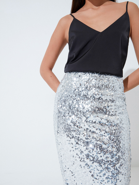 Облегающая юбка с пайетками - фото 3