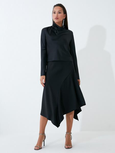 Струящаяся атласная юбка - фото 1