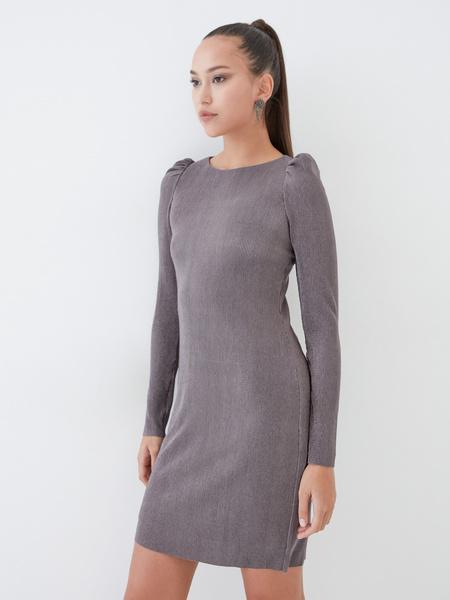 Платье-мини в рубчик - фото 2
