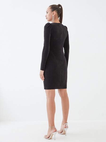 Платье-мини в рубчик - фото 5