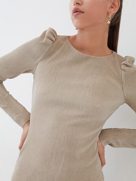 Платье-мини в рубчик - фото 3