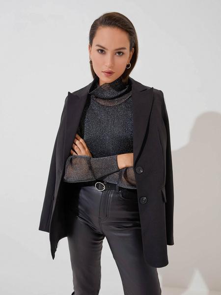 Блузка с прозрачными рукавами - фото 1