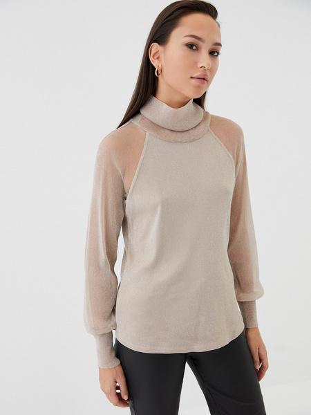 Блузка с прозрачными рукавами - фото 5