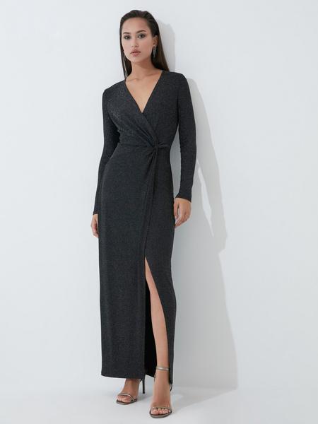 Блестящее платье в пол с разрезом - фото 1
