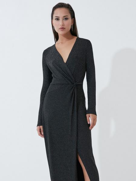 Блестящее платье в пол с разрезом - фото 2