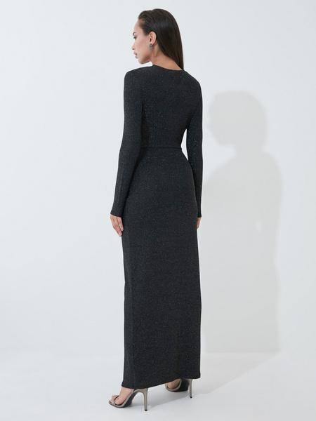 Блестящее платье в пол с разрезом - фото 4