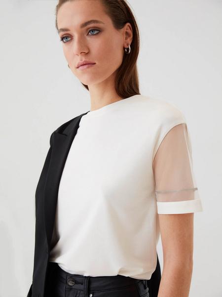 Блузка с прозрачными рукавами - фото 3