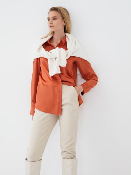 Блузка с атласной вставкой - фото 1
