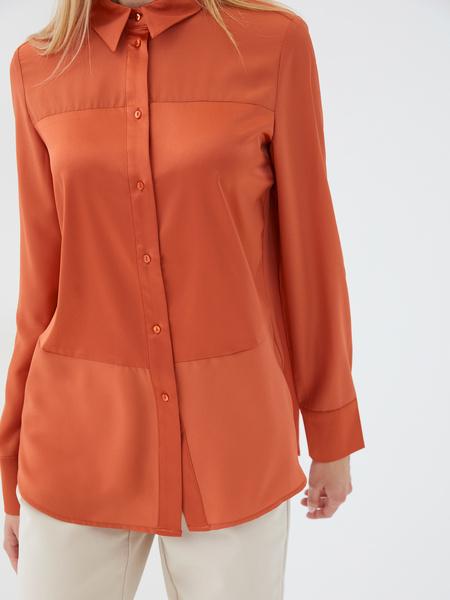 Блузка с атласной вставкой - фото 4