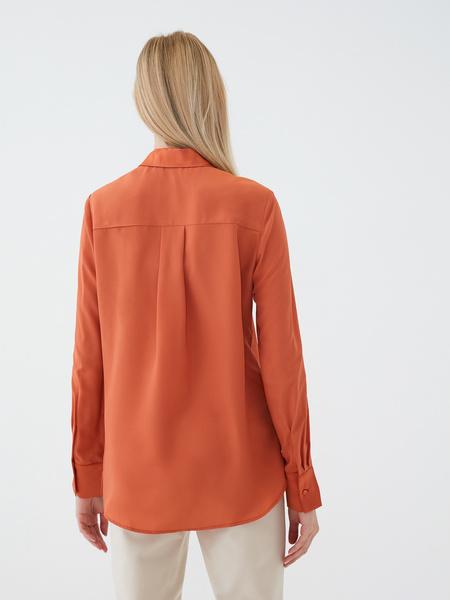 Блузка с атласной вставкой - фото 5