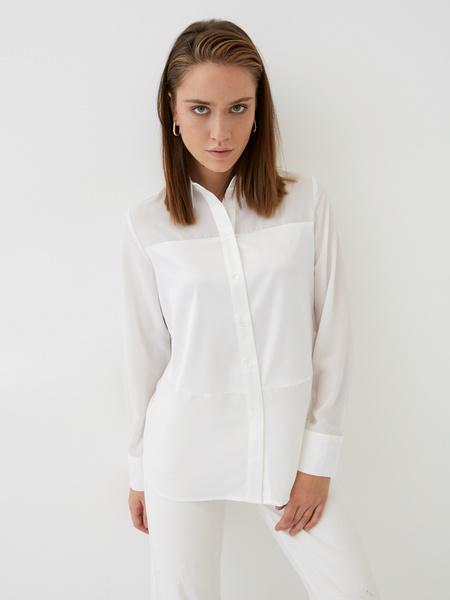 Блузка с атласной вставкой
