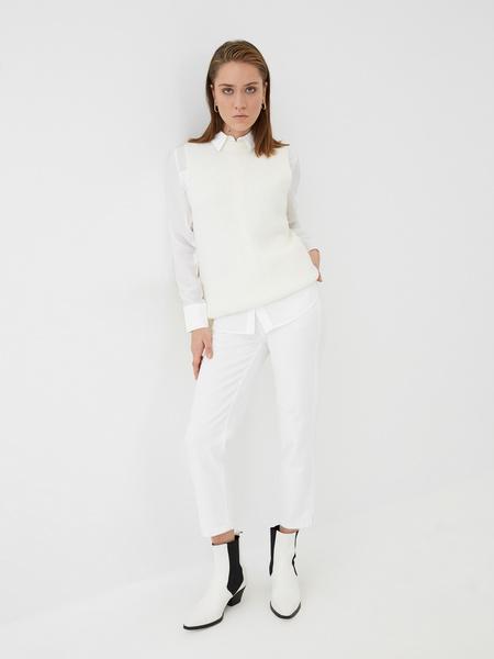 Блузка с атласной вставкой - фото 6