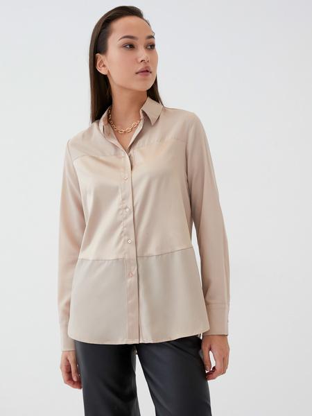 Блузка с атласной вставкой - фото 2