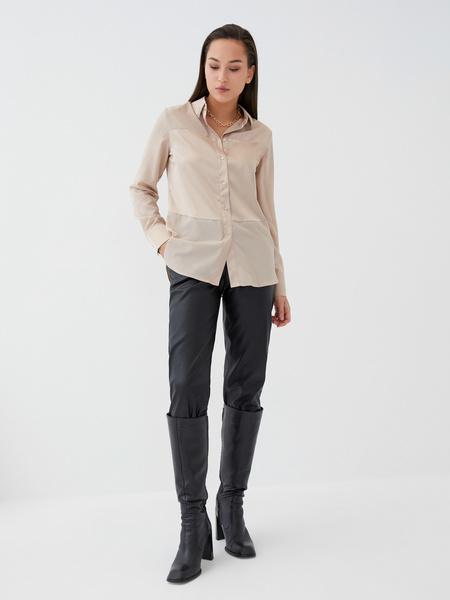 Блузка с атласной вставкой - фото 3