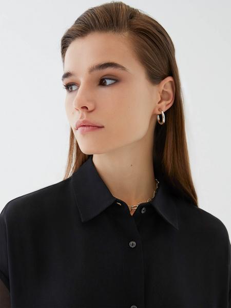 Блузка с прозрачным рукавом - фото 3