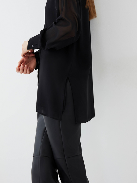 Блузка с прозрачным рукавом - фото 4