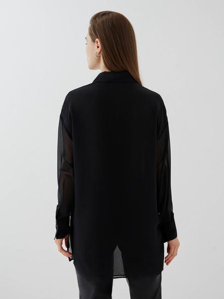 Блузка с прозрачным рукавом - фото 5