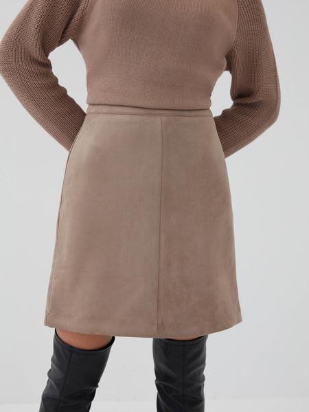 Замшевая юбка-трапеция - фото 4