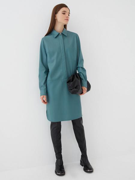 Платье-рубашка из экокожи - фото 2