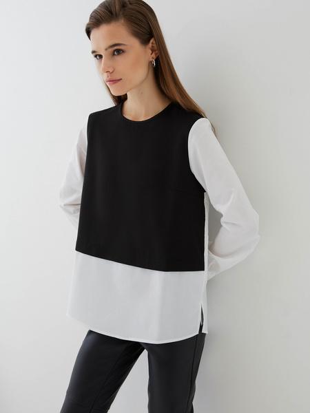 Комбинированная блузка из хлопка - фото 1