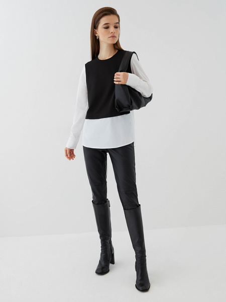 Комбинированная блузка из хлопка - фото 2