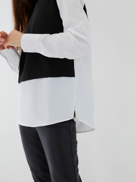 Комбинированная блузка из хлопка - фото 4