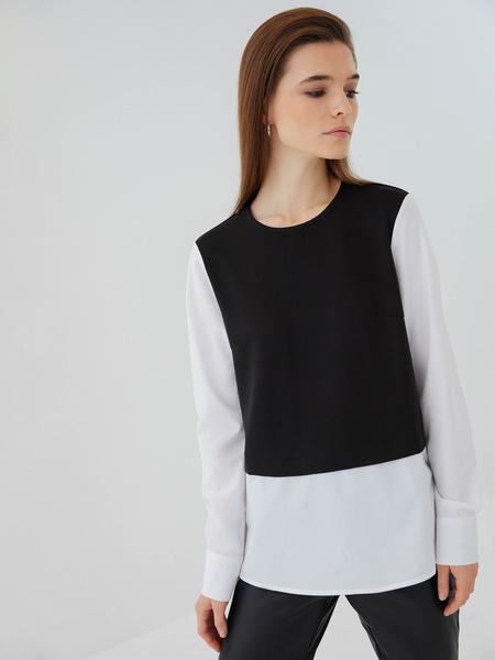 Комбинированная блузка из хлопка - фото 5