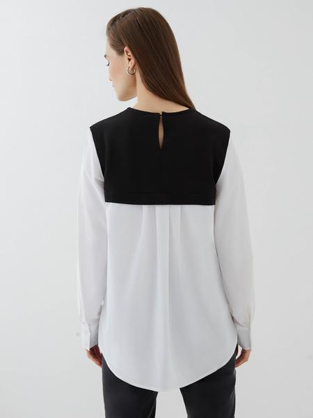 Комбинированная блузка из хлопка - фото 6