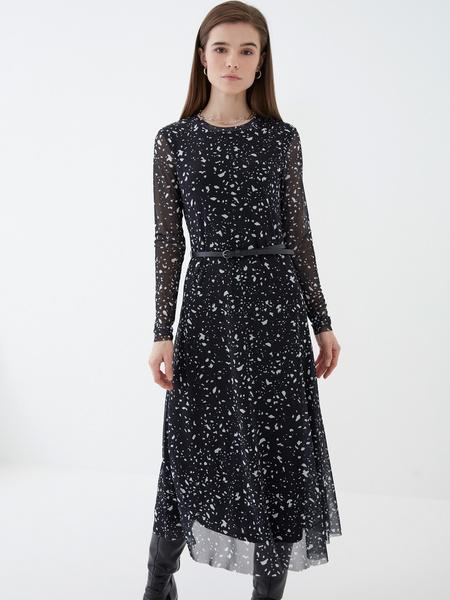 Платье-миди с длинным рукавом - фото 1