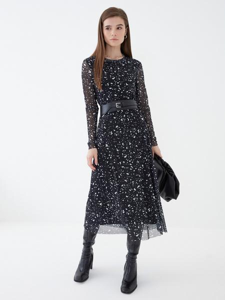 Платье-миди с длинным рукавом - фото 2