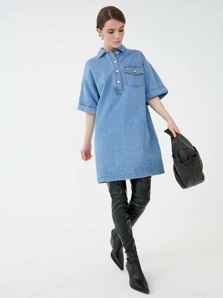 Прямое джинсовое платье - фото 1